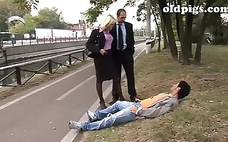 Mature couple picks up a drifter for a threesome sex