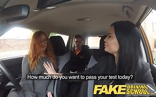 Fake Driving Teacher readhead teen coupled with gaffer MILF creampie