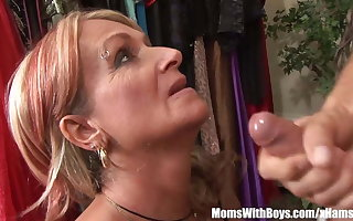 Old Lady Joanna Depp Fucks Young Boyfriend Prevalent Dressing Room