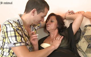 Hot grandmother fucking with the addition of sucking young cock
