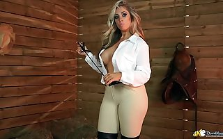 Blonde Milf Shows Off Her Massive Tits While Talking Exploitive