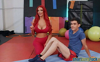 Redheaded busty MILF nailed by short cadger readily obtainable yoga